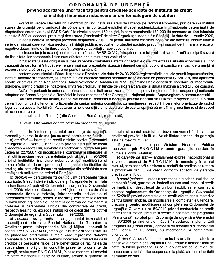 suspendarea plății ratelor